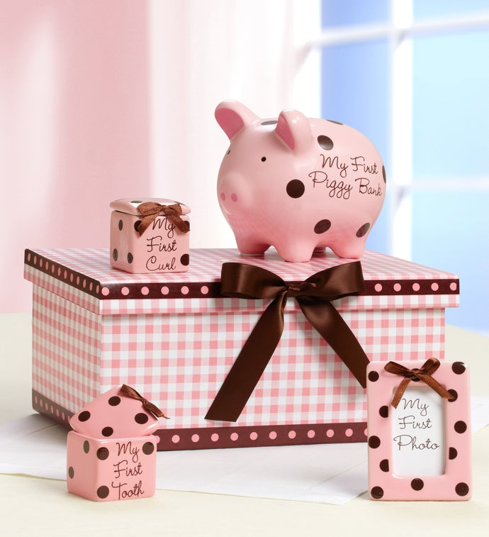 "Classic Pink Baby's ""Firsts"" Keepsakes Set"
