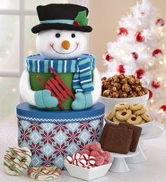 Snowman Sweets Gift Tower