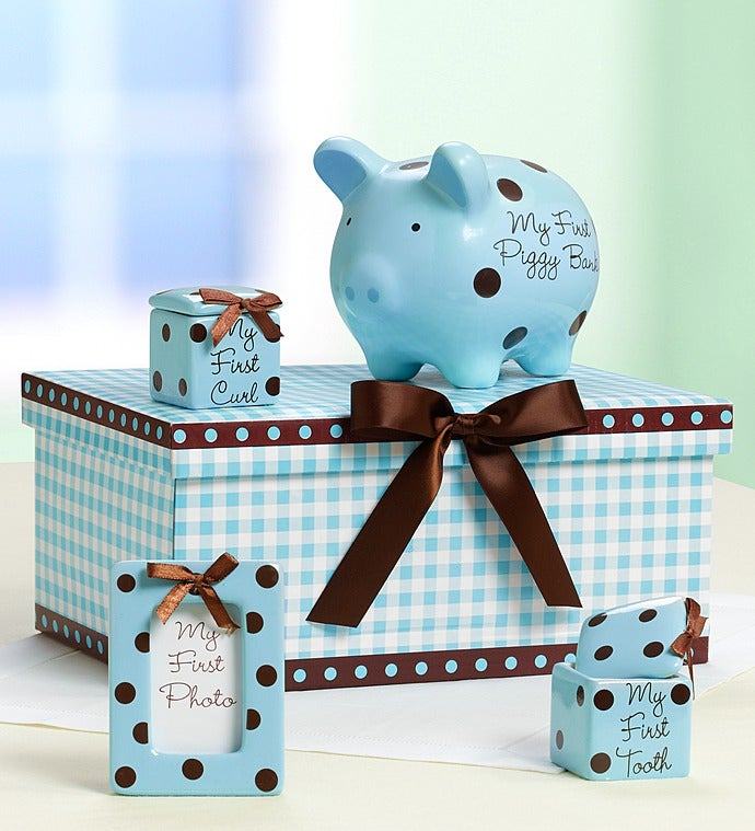 "Classic Pink or Blue Baby's ""Firsts"" Keepsakes Set"