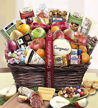 Congratulations Fruit & Sweets Gift Basket Deluxe