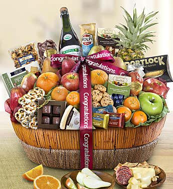 Congrats Fruit & Sweets Gift Basket Grande
