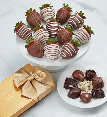 Godiva Ballotin & Chocolate Covered Strawberries