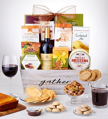 Autumn Feast Gift Basket with Wine