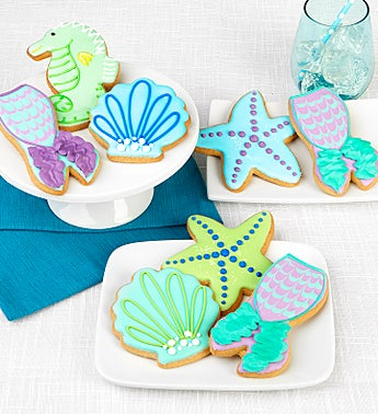 Set of 8 Mermaid Frosted Artisan Iced Cookies