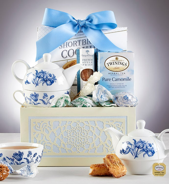Teatime For One with Teapot Gift Basket