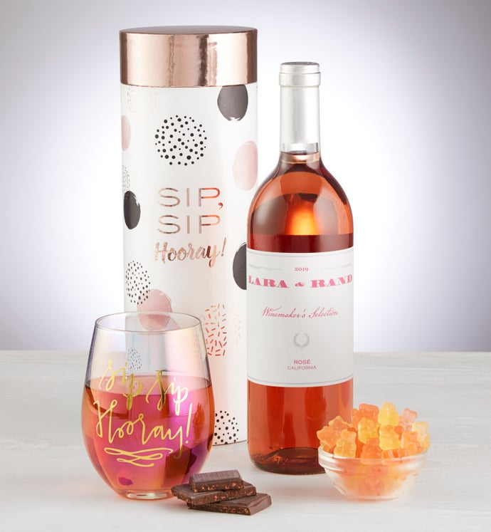 Sip Sip Hooray Rosé Wine & Glass Gift Set