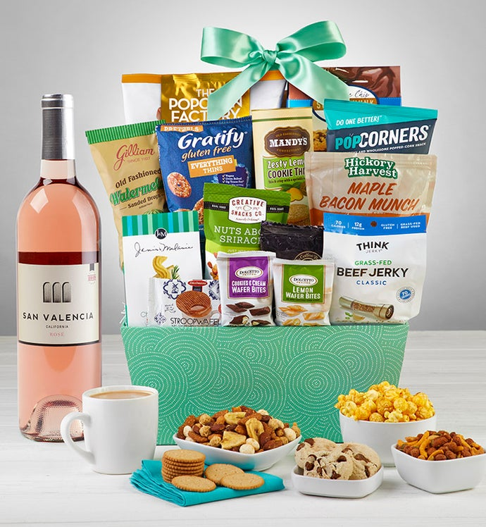 Grand Snacks & Sweets Gift Basket with Wine