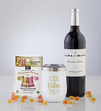 Sippable™ Good Vibes Tumbler Cup with Gummies and Wine