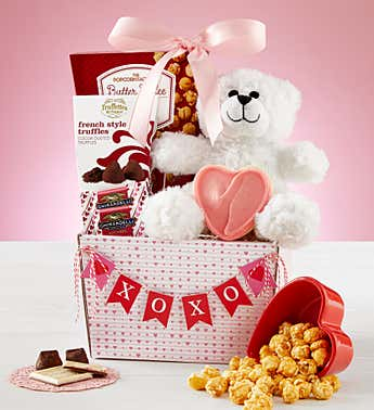 My Valentine Bear & Sweets Basket