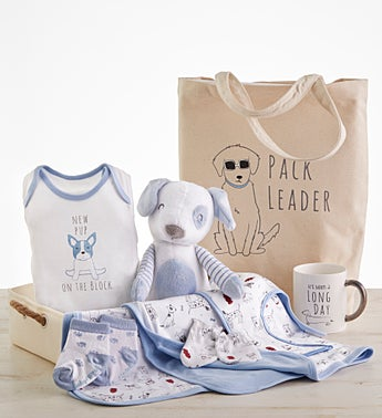New Pup 9 pc Mom & Baby Gift Basket