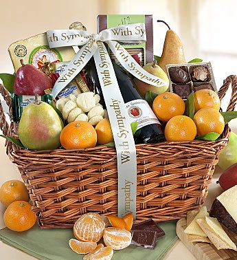 With Sympathy & Love Gourmet Fruit Gift Basket